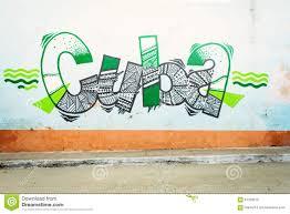 grunge cuba on a wall cuba writing on the wall editorial stock