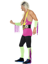 retro wrestler mens fancy dress 80s wwf wrestling sports stag