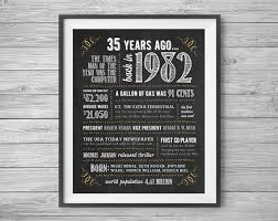 35th anniversary gift 35th birthday or anniversary chalk sign printable 8x10 and 16x20
