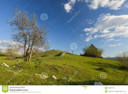 the house in the hills at spring in montenegro stock photo image
