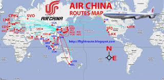 Qingdao China Map by Civil Aviation Air China Routes Map