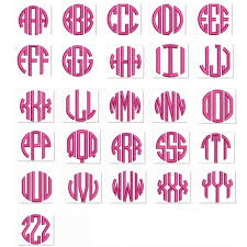 3 letter monogram letter satin circle monogram machine embroidery small satin font