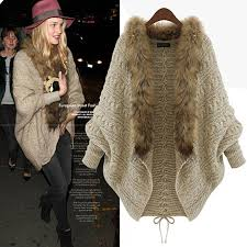 sweater with faux fur collar buy womens batwing knitted sweater faux fur collar cardigan