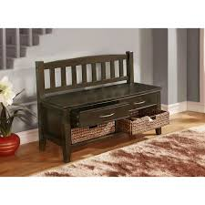 beautiful wooden entryway storage bench of woven storage baskets
