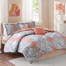 Coral And Mint Bedding Cozy Soft Mia Comforter Set In Coralgreywhite Pertaining To Coral