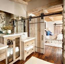 aged wooden sliding doors for english cottage bathroom ideas using