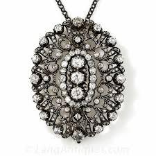 vintage diamond pendant necklace images Antique diamond pendant barrette choker jpg
