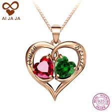 necklaces with names engraved aijaja personalized 925 sterling silver names engraved birthstones