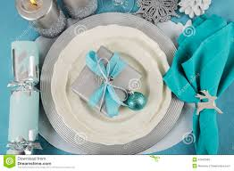 Table Place Settings by Christmas Table Place Settings In Aqua Blue Silver And White