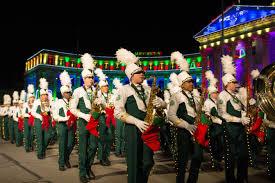 denver parade of lights 2017 csu marching band leads the parade of lights in denver the rocky