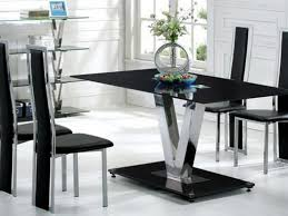 Glass Dining Tables And 6 Chairs Black Glass Dining Table And 6 Black Chairs Set Homegenies