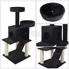 vidapets 51 u0026 034 black cat tree play house condo scratcher post
