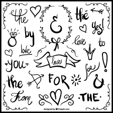 wedding ornaments and written words vector free