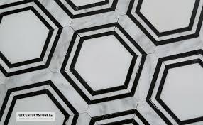 black and white hexagon pattern water jet marble mosaic non slip
