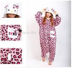 Kitty Halloween Costume Kids Women Pink Leopard Kitty Cosplay Pajamas Animal