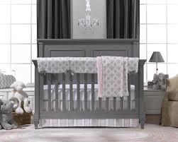 Liz U0026 Roo Bella Damask Pink U0026 Gray Bumperless Crib Bedding Set