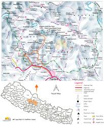 Nepal India Map by Annapurna Base Camp Trek Map Annapurna Base Camp Trek