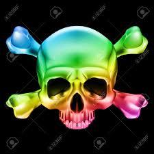 multi colored skull and bones illustration on black background