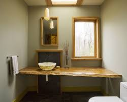 bathroom small bathroom with circular wall mirror also laminate