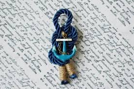 Royal Blue Boutonniere Nautical Wedding Boutonniere Royal Blue Lapel Pin Groom Anchor
