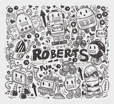 pattern drawing illustrator doodle robot element illustrator line tools drawing royalty free