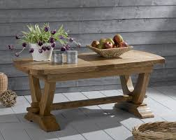 nogent french rustic solid oak coffee table with v shaped legs