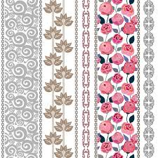 set of bohemian style floral borders scrolls background leaves