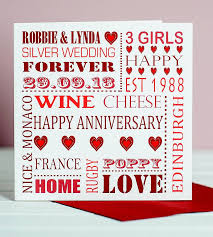 personalised anniversary card by designs