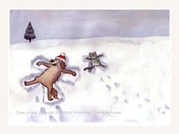 funny dog and cat snow angels winter greeting card funny pets