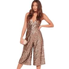 stylish jumpsuits brown spaghetti sequined wide leg cropped jumpsuits for