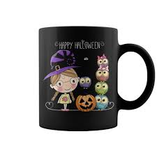 happy halloween little witch owls mug