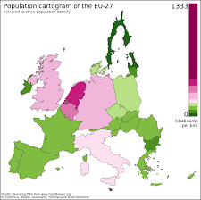 Printable Maps Of Europe by Printable Map Of Population Density Map Of Europe 27 Cartogram