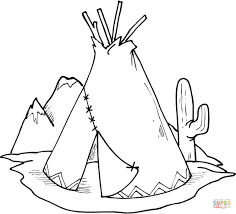 tipi teepee and cactus coloring page free printable coloring pages