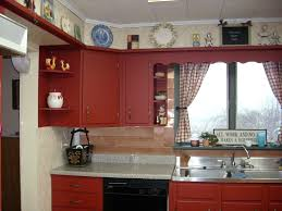 light brown varnished chestnut kitchen cabinet which mixed with art deco red stained pine wood kitchen cabinet which mixed with grey granite counter top