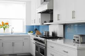 Blue Kitchens With White Cabinets Blue Kitchen Backsplash Contemporary Kitchen John B Murray