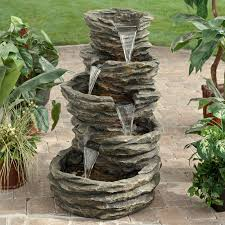 Water Fountains For Backyards by 4 Level Water Fountain Made From Stone Carving Placed On Stone