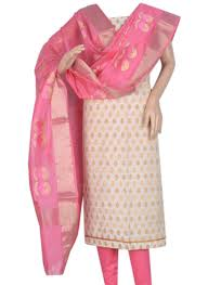 buy cream and baby pink combination brocade chanderi salwar suit