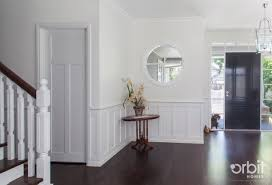 Panel Homes by Hamptons Style Entry Way With Feature Circle Window Dark Timber