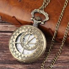 pocket watch chain necklace images Two ring pattern hollow pocket watch with chain necklace pendant jpg