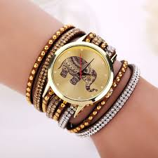 crystal bracelet watches images Women leather strap quartz ladies crystal bow bracelet chain charm jpg