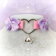 leather bow necklace images Choker necklace kitten play collar pink faux leather heart bell jpg