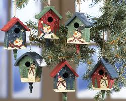 country birdhouses w snowmen ornaments country