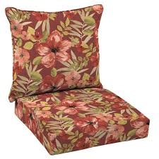 Purple Patio Cushions by Hampton Bay Chili Tropical Blossom Welted 2 Piece Deep Seating