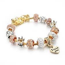 pandora bracelet with beads images Pandora crystal beads women charm bracelets bangles ken jpg
