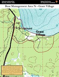 Map Of Yellowstone National Park Bear Management Area N Grant Village Map Yellowstone National Park