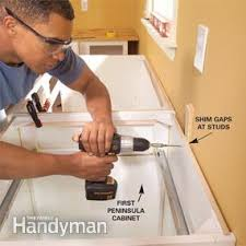 How To Install Base Cabinets With Shims How To Install Kitchen Cabinets Family Handyman