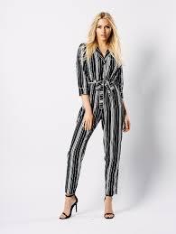 pj jumpsuit monochrome stripe pj style jumpsuit influence fashion