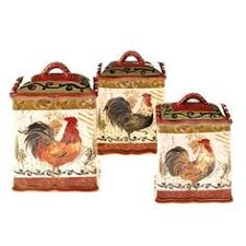 set of hen u0026 rooster speckled ivory ceramic kitchen canisters w