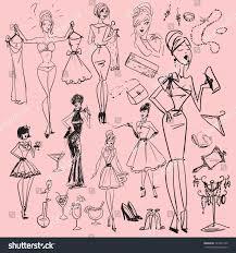 hand drawn girls women getting dressed stock vector 121202122