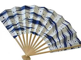 held folding fans japanese geisha odori held sensu folding fan blue surf